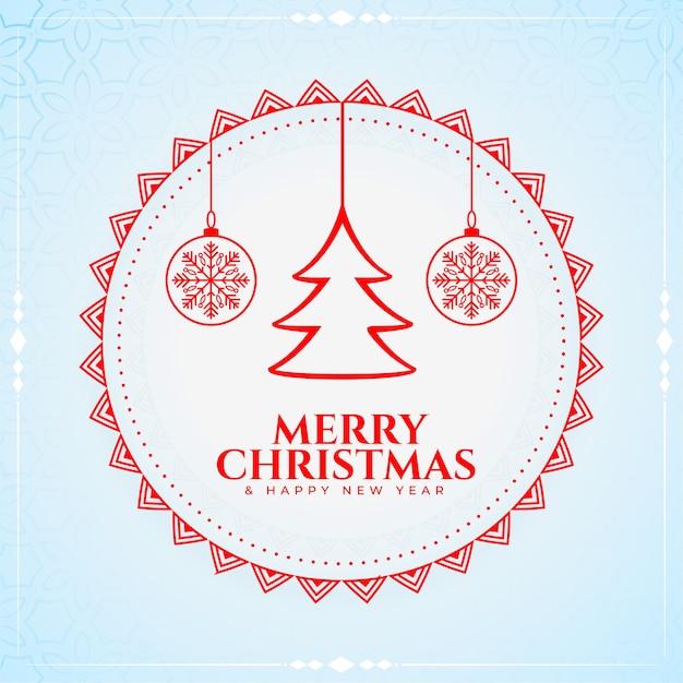 Carte De Voeux Joyeux Noël Et Nouvel An Avec Arbre Et Boules Vecteur gratuit