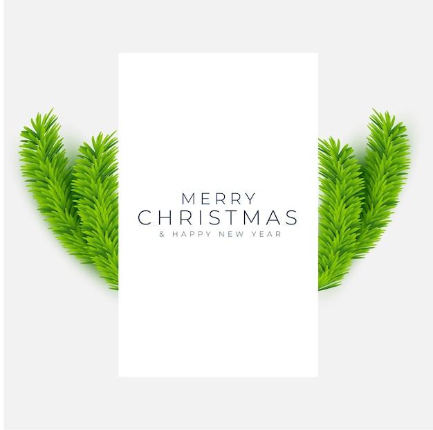 Carte De Voeux Joyeux Noël Et Nouvel An Avec Des Branches Réalistes De Pin Vecteur gratuit