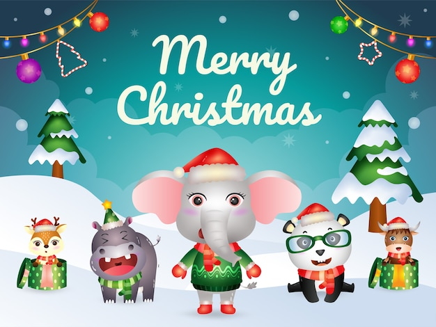 Carte De Voeux Joyeux Noël Avec Personnage D'animaux Mignons: éléphant, Panda, Buffle, Hippopotame Et Cerf Vecteur Premium
