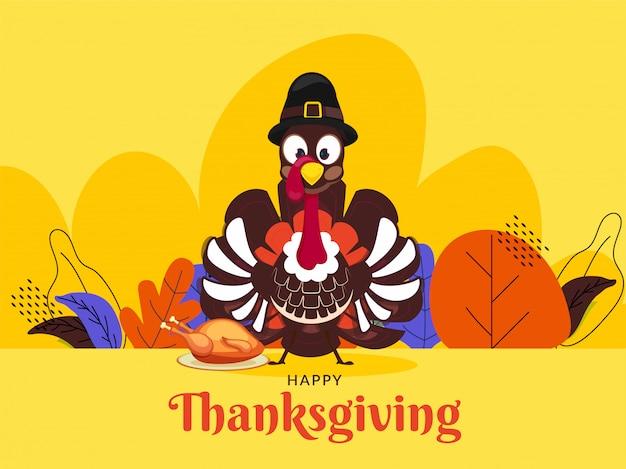 Carte de voeux joyeux thanksgiving avec illustration d'un oiseau de dinde portant chapeau de pèlerin et feuilles d'automne décorées sur jaune. Vecteur Premium