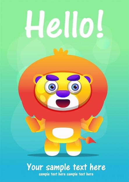 Carte de voeux lion mignonne cartoon Vecteur Premium