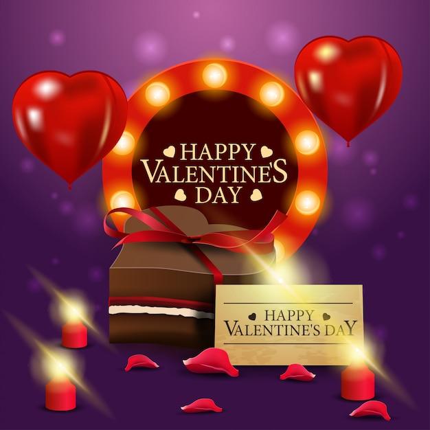 Carte de voeux mauve avec bonbons au chocolat Vecteur Premium
