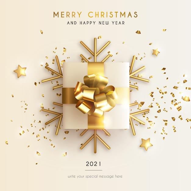Carte De Voeux Minimale De Noël Et Du Nouvel An Avec Un Cadeau Réaliste Et Des étoiles Vecteur gratuit