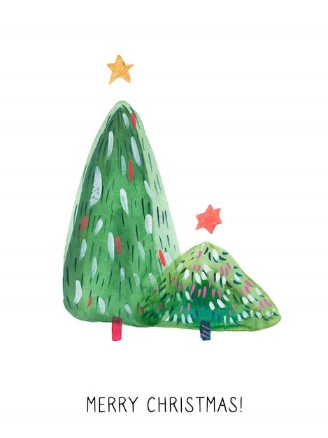 Carte De Voeux Noël Arbre Vert Vecteur Premium