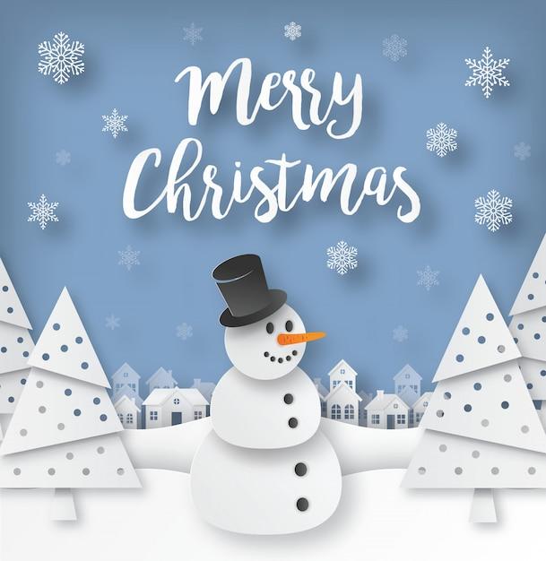 Carte De Voeux De Noël Avec Bonhomme De Neige En Papier Découpé