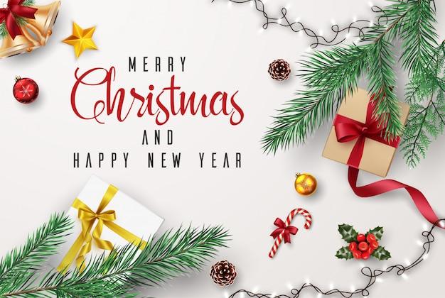 Carte De Voeux De Noël Et Bonne Année Composition D'éléments Avec Des Décorations De Noël. Vecteur Premium