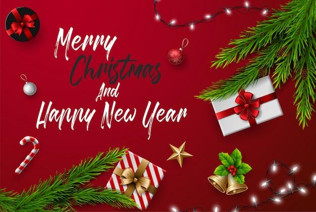 Carte De Voeux De Noël Et Bonne Année Composition D'éléments Avec
