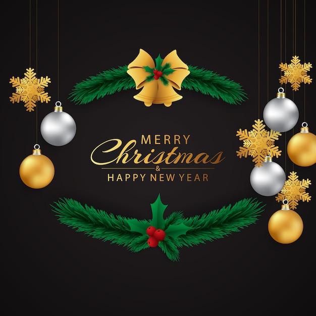 Carte de voeux de noël et bonne année magnifiquement décorées Vecteur Premium
