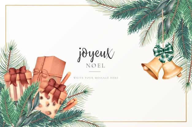 Carte de voeux de noël avec des cadeaux et des ornements Vecteur gratuit