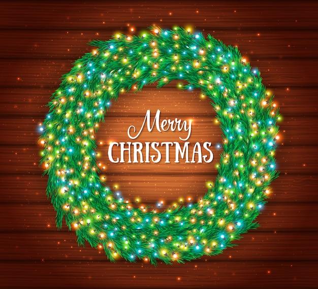 Carte De Voeux De Noël Avec Cadre Vecteur Premium
