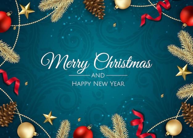Carte De Voeux De Noël Avec Des Décorations De Noël Vecteur Premium