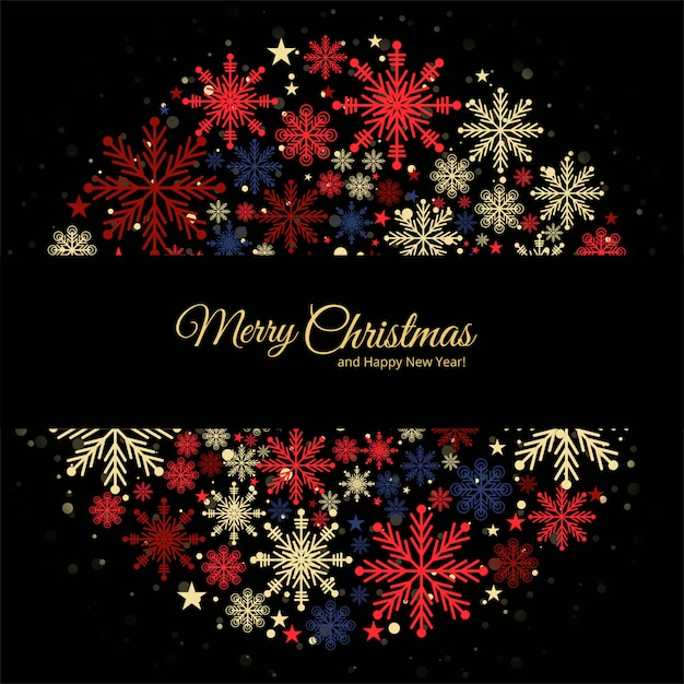 Carte De Voeux De Noël Décorative De Flocons De Neige Colorés Vecteur gratuit