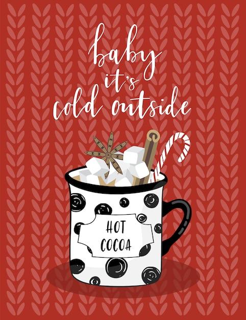 Carte De Voeux De Noël Avec Du Cacao. Vecteur Premium