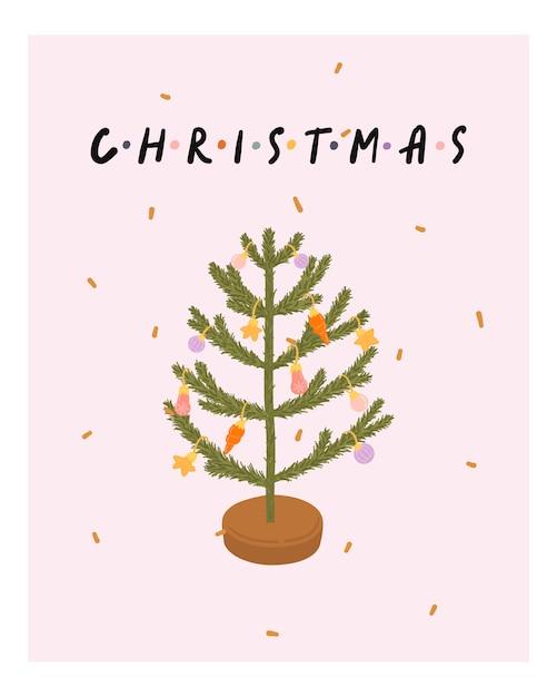 Carte de voeux de noël et du nouvel an avec arbre de noël dans le style hygge. saison d'hiver confortable. scandinave Vecteur Premium