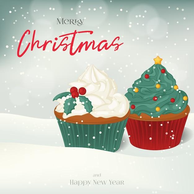 Carte de voeux de noël, fond, affiche avec des cupcakes sucrés dans la neige. Vecteur Premium