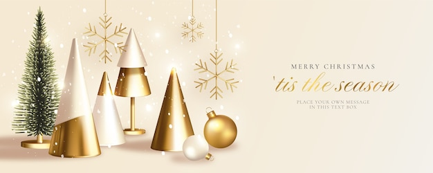 Carte De Voeux De Noël Moderne Avec Arbre De Noël Doré Réaliste Vecteur gratuit