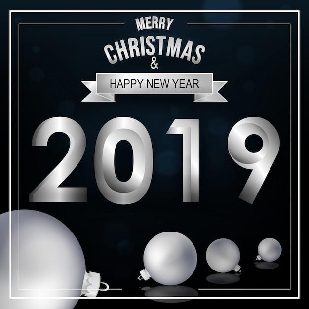 Carte De Voeux De Noël Et Nouvel An 2019 Télécharger Des