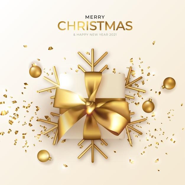 Carte De Voeux De Noël Et Nouvel An Avec Beau Cadeau Réaliste Vecteur gratuit