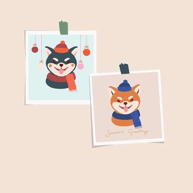 Carte De Voeux De Noël Et Nouvel An Chien Japonais Mignon Shiba Inu. Portrait Animalier Vecteur Premium