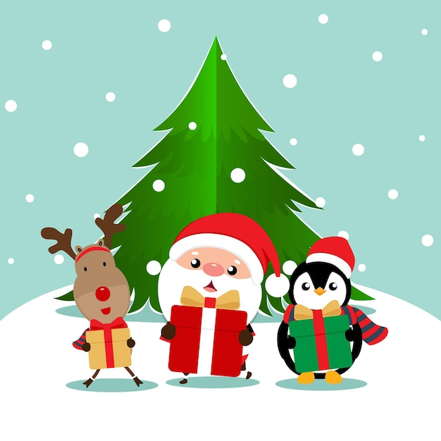 Carte De Voeux De Noël De Vacances Avec Le Père Noël Vecteur Premium