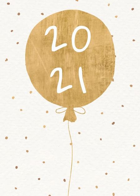 Carte De Voeux De Nouvel An 2021 Avec Ballon D'or Vecteur gratuit