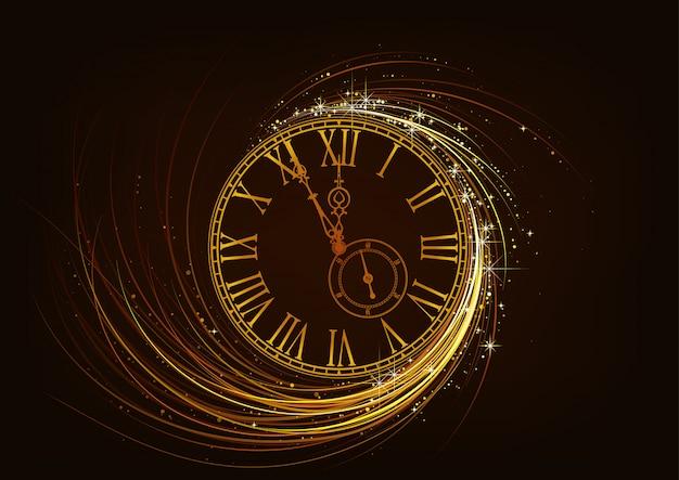 Carte De Voeux De Nouvel An Avec Cadran D'horloge Mousseux Vecteur Premium