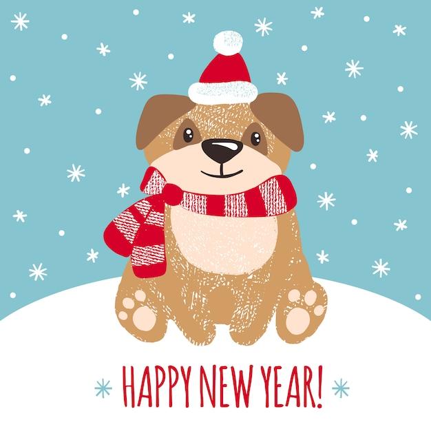 Carte De Voeux De Nouvel An Avec Chien Mignon. Vecteur Premium