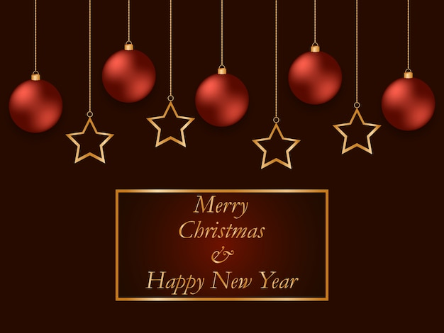 Carte De Voeux De Nouvel An Rouge Avec Des étoiles Dorées Et Des Boules Rouges. Boule De Noël Joliment Accrochée Aux Chaînes En Or. Vecteur Premium