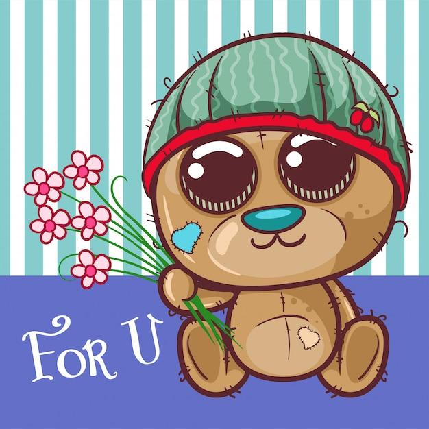 Carte de voeux ours mignon dessin animé avec une fleurs - vecteur Vecteur Premium