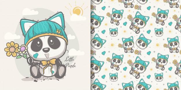 Carte de voeux panda mignon de bande dessinée avec un motif sans soudure Vecteur Premium