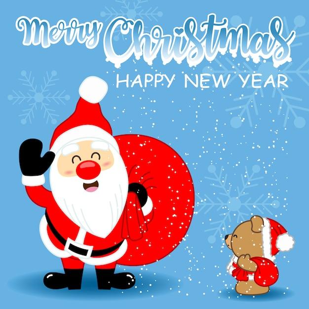 Carte De Voeux Avec Le Père Noël Mignon Et L'ours Brun Mignon Pour