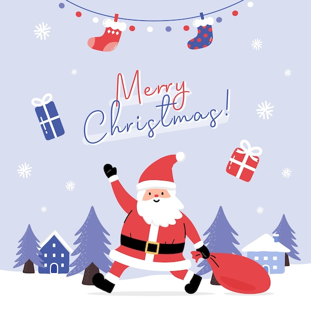 Carte De Voeux Avec Le Père Noël Et Présente Dans Le Paysage D'hiver Vecteur Premium