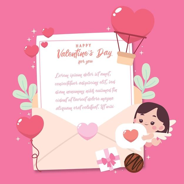 Carte De Voeux Plate Saint Valentin Avec Illustration Mignonne Vecteur Premium