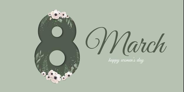 Carte de voeux pour le 8 mars avec des plantes, des feuilles et des fleurs de printemps. Vecteur Premium
