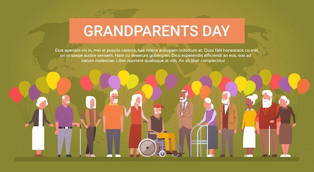 Carte de voeux pour le jour des grands-parents heureux bannière mix race groupe de personnes âgées sur la carte du monde Vecteur Premium