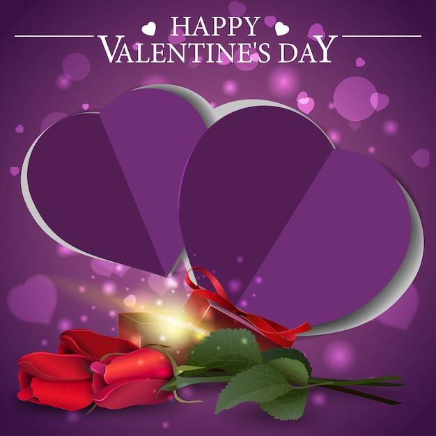 Carte de voeux pourpre saint valentin avec cadeau et fleurs Vecteur Premium