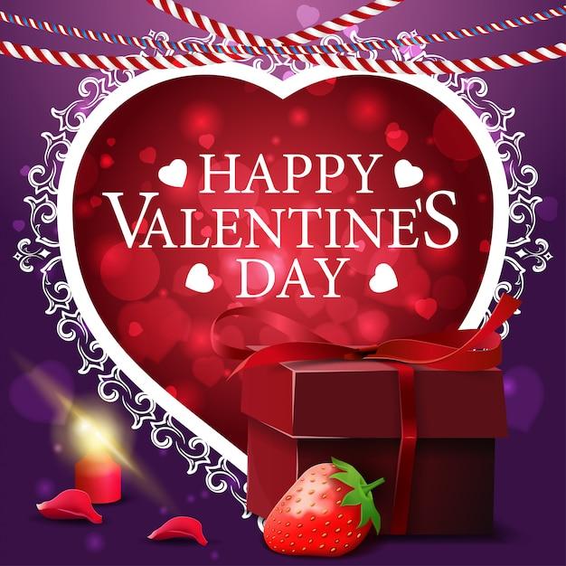 Carte de voeux pourpre de la saint-valentin Vecteur Premium