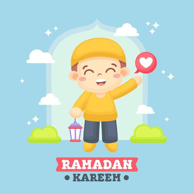 Carte de voeux de ramadan avec illustration d'un garçon mignon Vecteur Premium