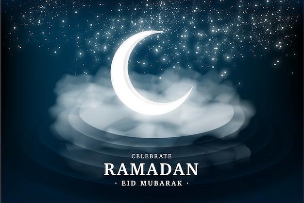 Carte de voeux réaliste du ramadan Vecteur gratuit