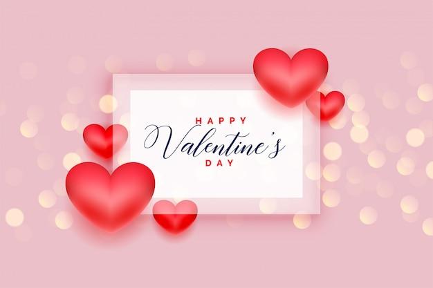 Carte De Voeux Romantique Coeurs Heureux Saint Valentin Amour Vecteur gratuit