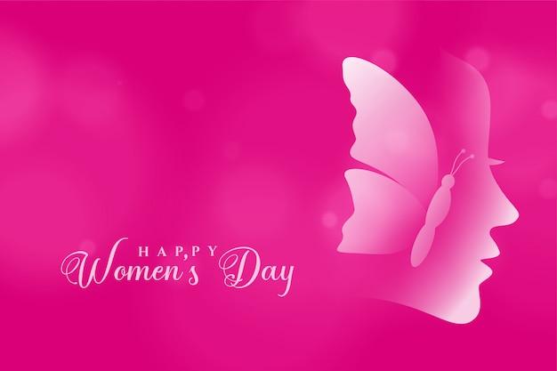 Carte De Voeux Rose Joyeux Joyeux Jour Des Femmes Vecteur gratuit
