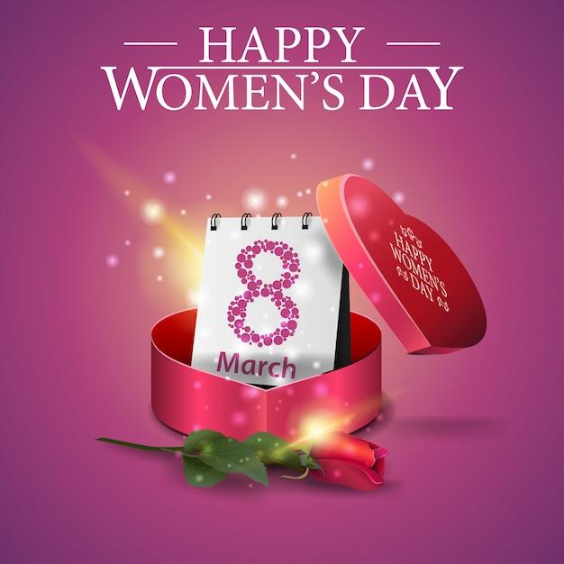 Carte de voeux rose pour la fête des femmes avec un cadeau Vecteur Premium