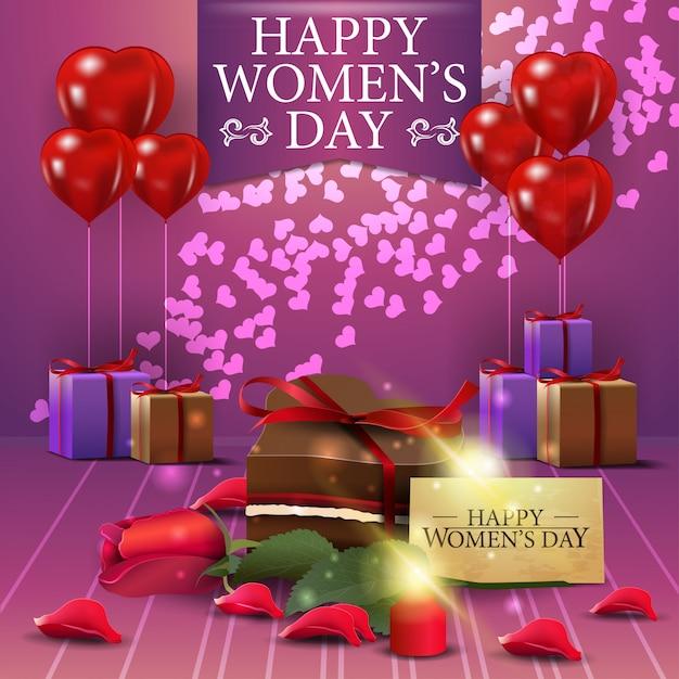 Carte de voeux rose pour la journée de la femme avec blloon Vecteur Premium