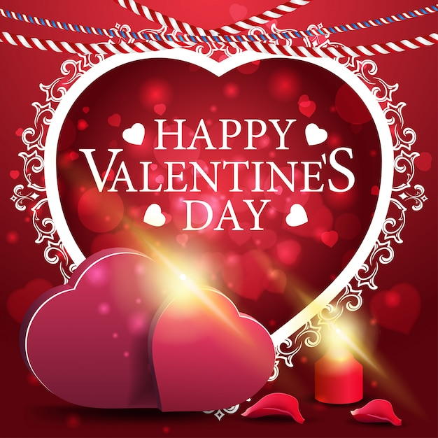 Carte de voeux rouge saint valentin avec deux coeurs Vecteur Premium
