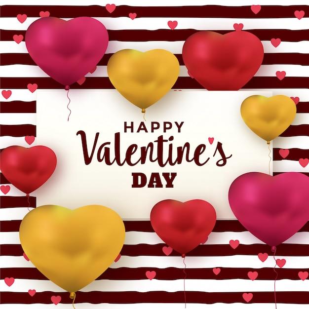 Carte de voeux saint valentin avec des ballons coeur Vecteur Premium