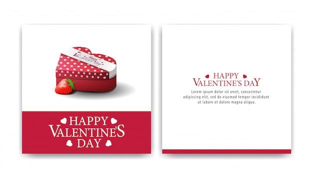 Carte de voeux saint valentin blanche avec des bonbons au chocolat Vecteur Premium