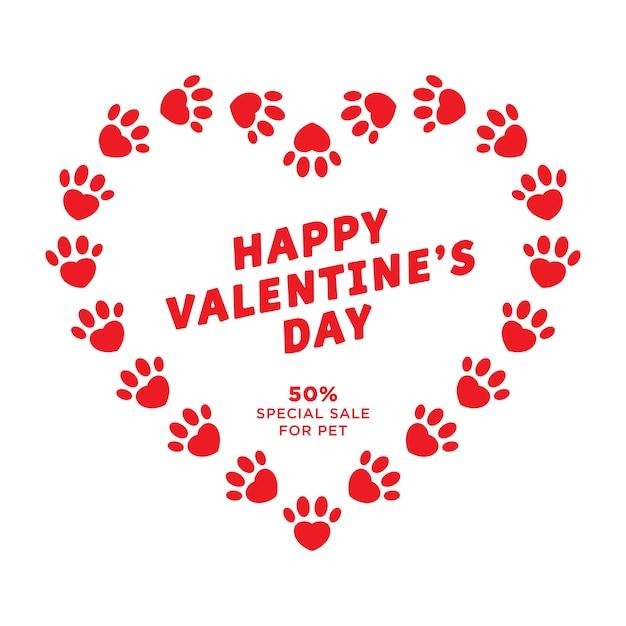 Carte De Voeux Saint Valentin Avec Coeurs Et Empreinte Rouge Pour Animaux De Compagnie Vecteur Premium