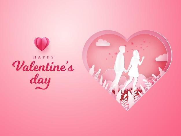 Carte De Voeux Saint Valentin. Couple, Marche, Tenue, Mains, Découpé, Coeur Vecteur Premium