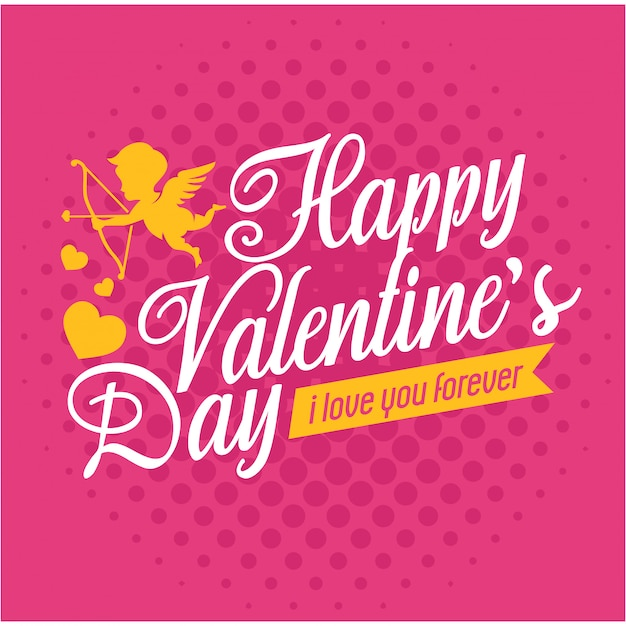 Carte de voeux saint valentin romantique avec petite fée Vecteur Premium