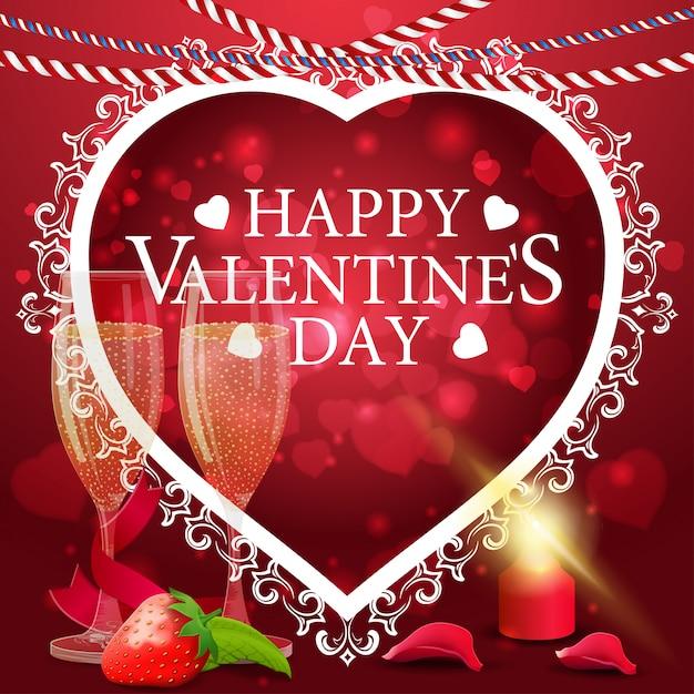 Carte de voeux saint valentin rouge avec des coupes de champagne Vecteur Premium